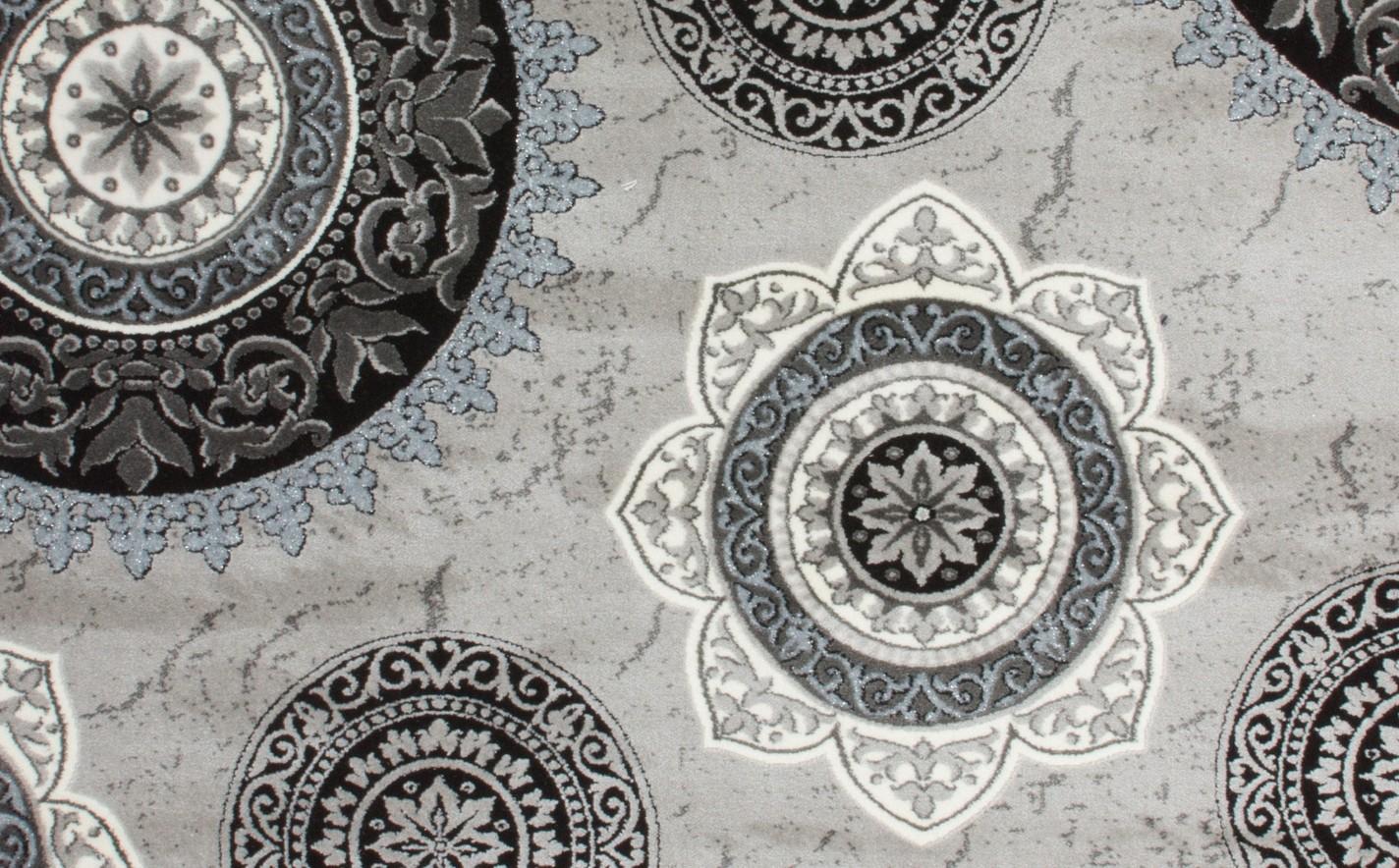 Tapis silver/gris pour salon en acrylique et polypropylen gravel ...