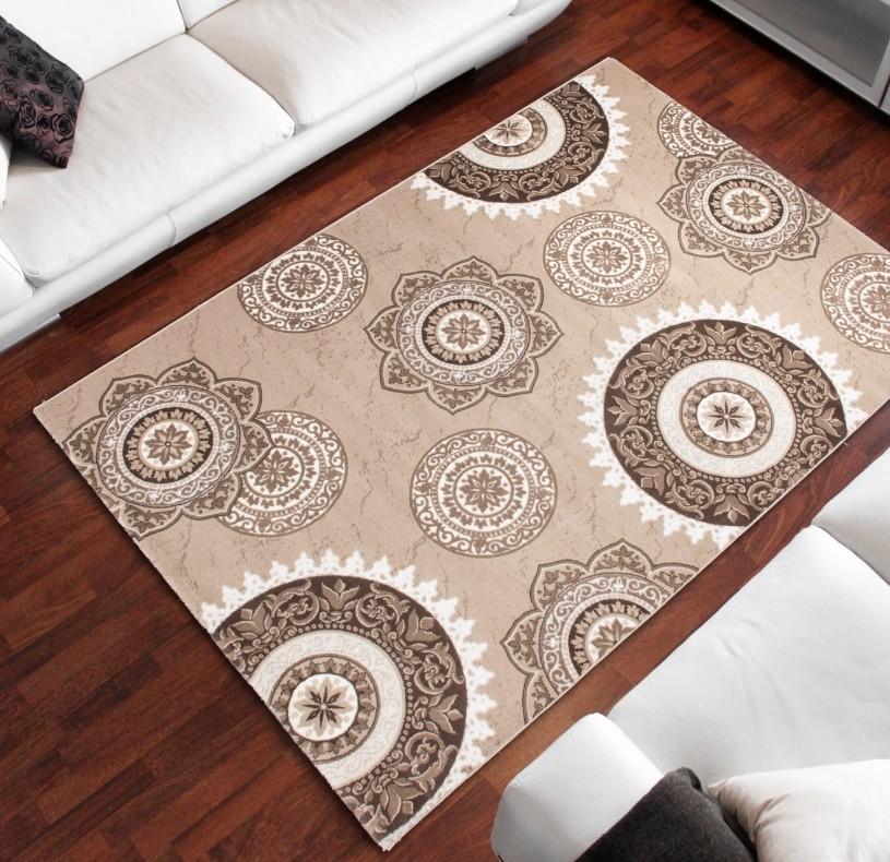 Tapis salon beige marron design d 39 int rieur et id es de for Salon moderne beige marron