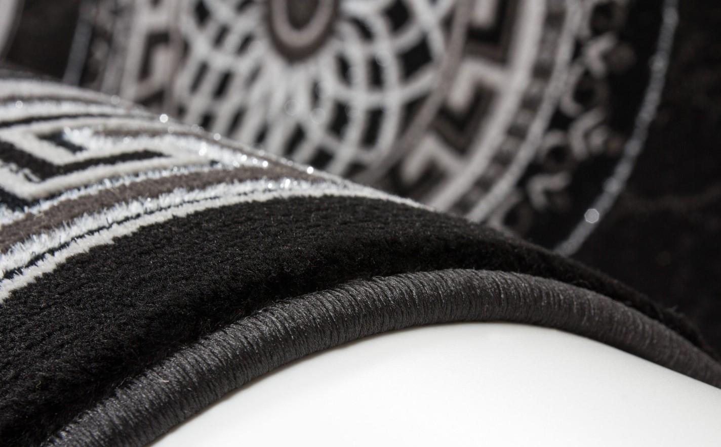 Tapis noir silver pour salon en acrylique et polypropylen gravel ...