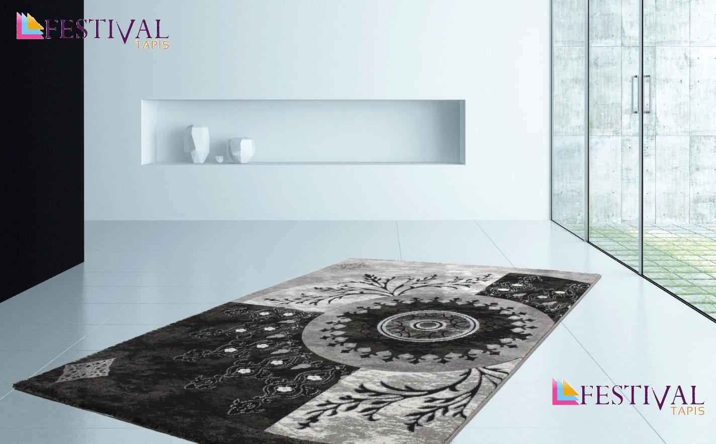 Tapis noir gris pour salon en acrylique et polypropylen for Tapis pas cher pour salon