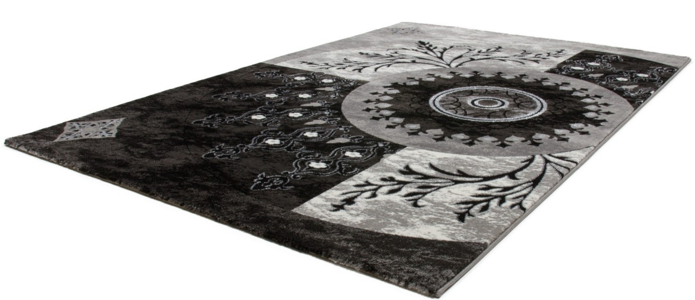 Model salon moderne noiretblanc for Tapis pour salon pas cher