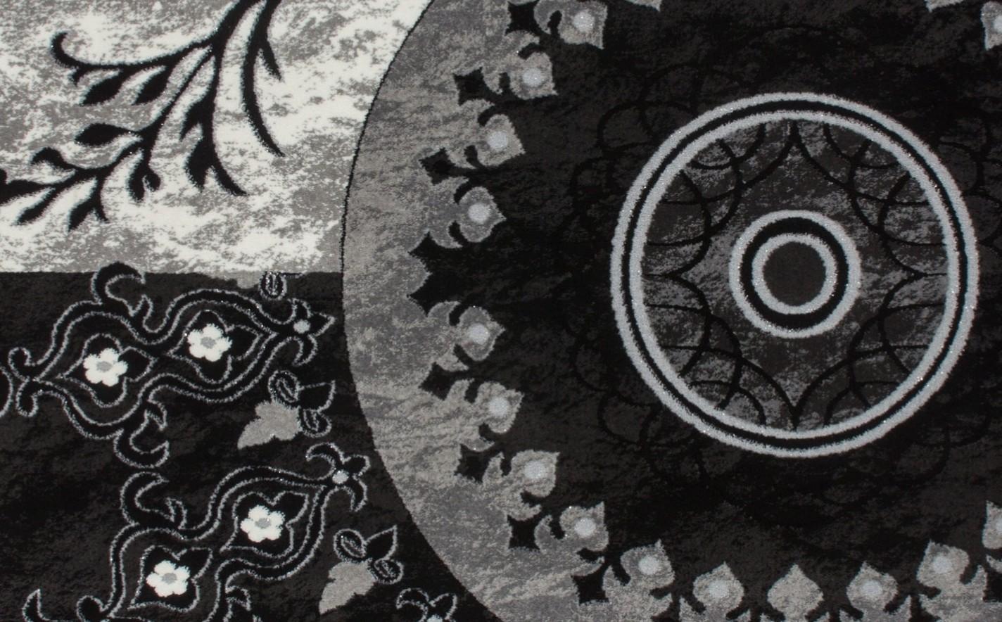 Tapis noir gris pour salon en acrylique et polypropylen gravel pas ...