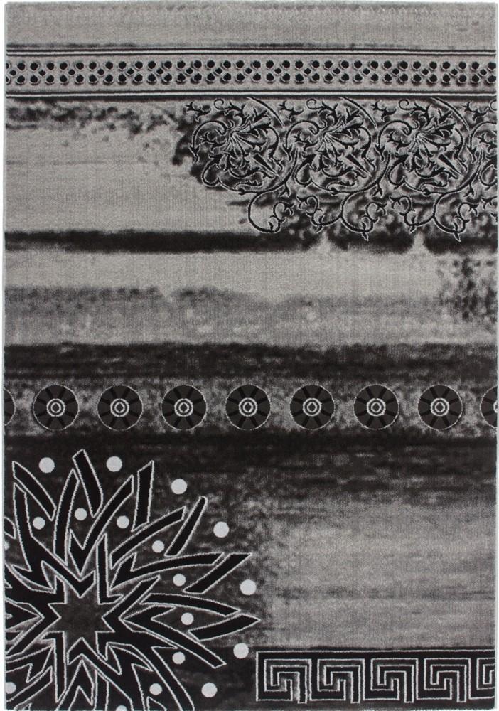Tapis contemporain gris noir en acrylique et polypropyl ne gravel pas cher - Tapis gris rouge blanc ...