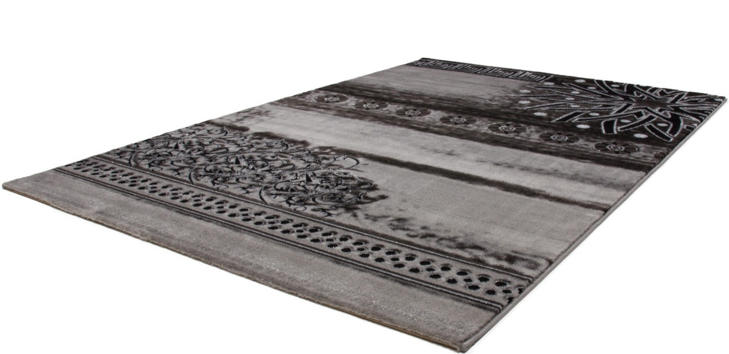 tapis contemporain gris noir en acrylique et polypropyl ne gravel pas cher. Black Bedroom Furniture Sets. Home Design Ideas