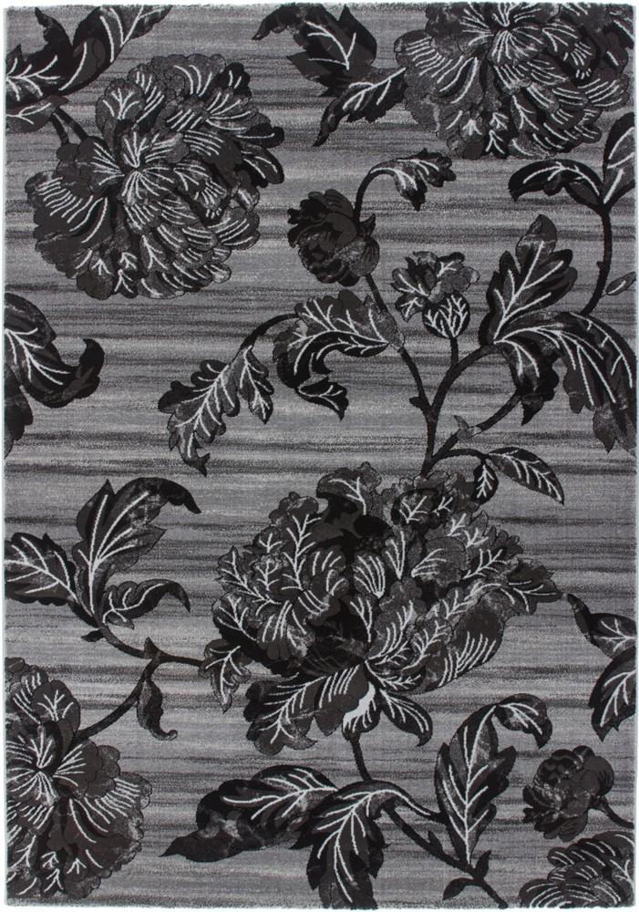 Tapis design fleur gris noir en acrylique et polypropyl ne gravel pas cher - Tapis baroque pas cher ...