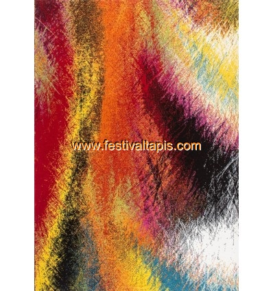 Tapis rouge et gris moderne, tapis salon moderne pas cher, tapis moderne en laine, tapis en laine moderne