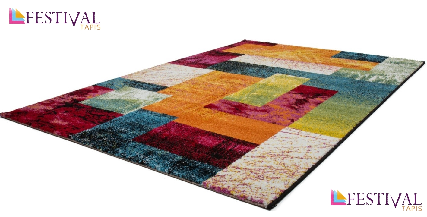 Tapis multicolore patchwork vigo pas cher for Tapis salon colore pas cher