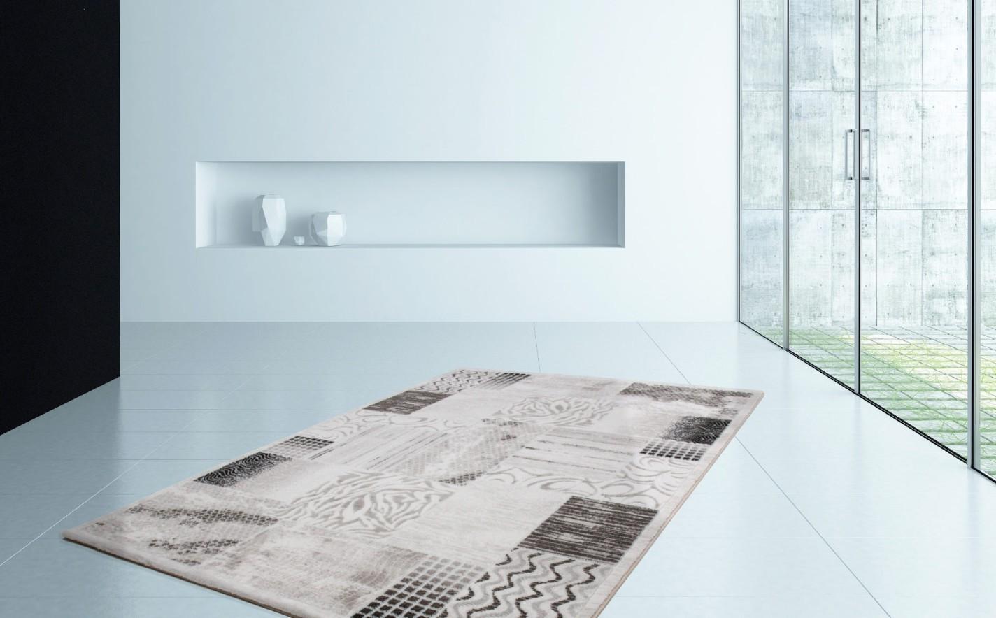 Tapis gris noir design contemporain firenze pas cher for Tapis contemporain design