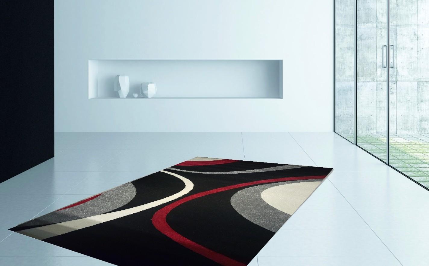 Tapis fris e effet 3d design moderne coloris noir gris harlequin pas cher - Tapis salon design ...
