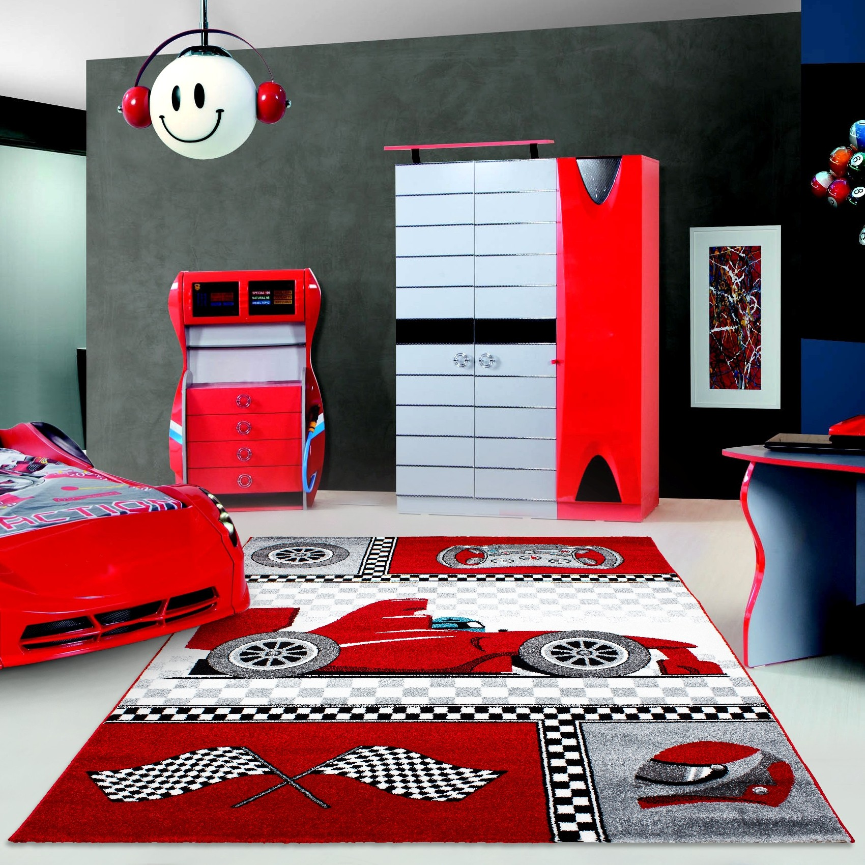 tapis pour chambre de gar on cr me et gris voiture f1 speed. Black Bedroom Furniture Sets. Home Design Ideas