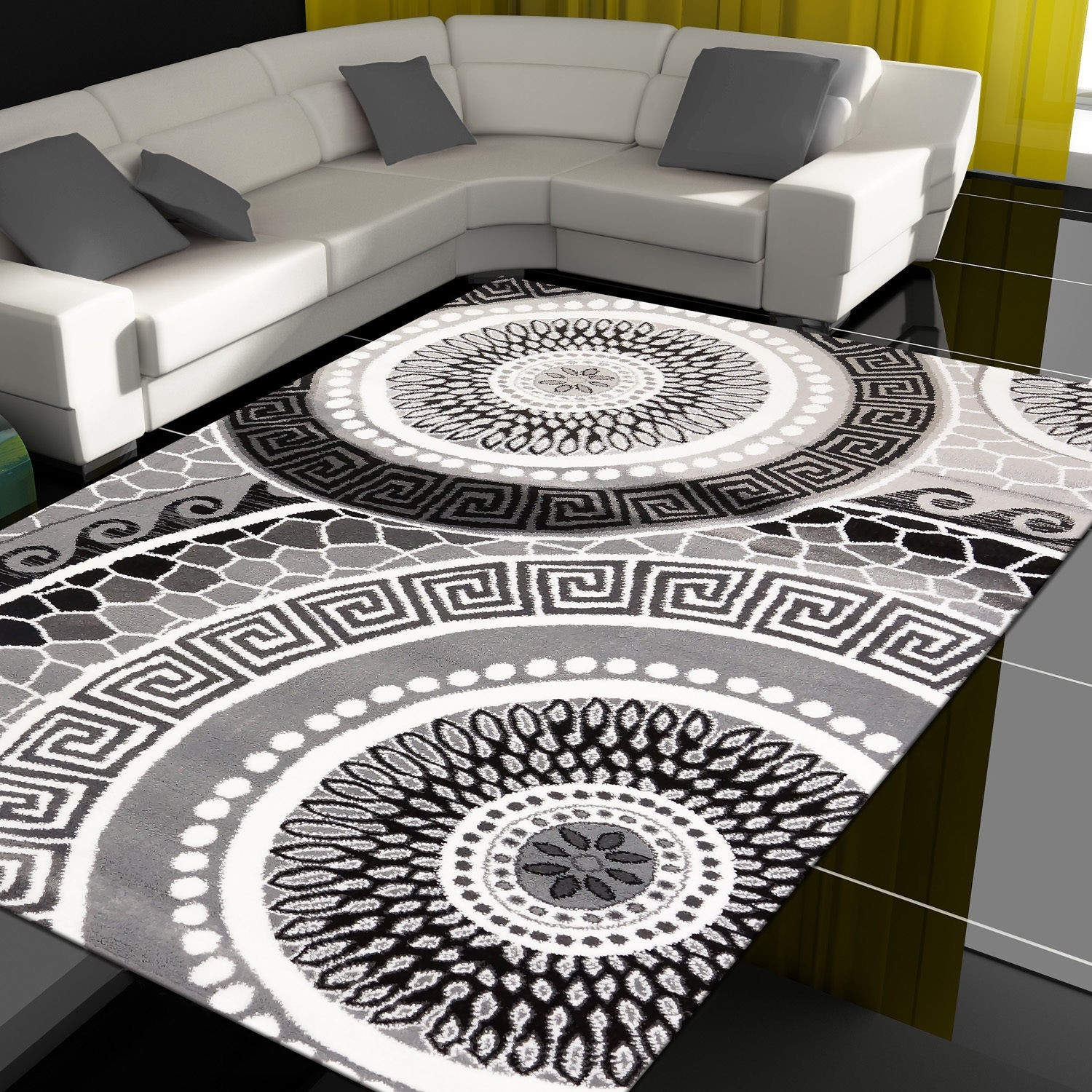 good tapis design moderne coloris noirgris tapis enfanttapis salontapis de salon with tapis alinea. Black Bedroom Furniture Sets. Home Design Ideas