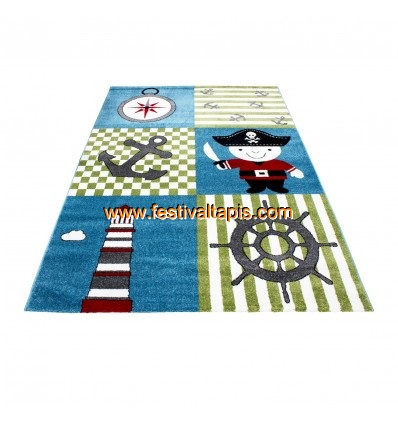 tapis pour gar on cr me et bleu pirate. Black Bedroom Furniture Sets. Home Design Ideas