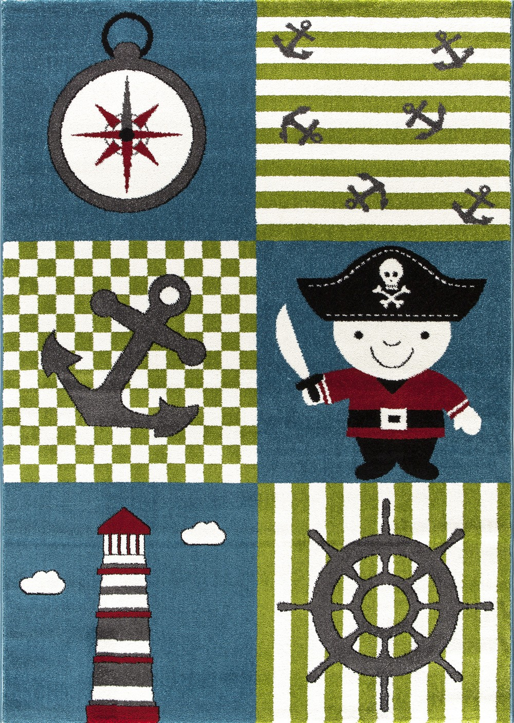 Tapis pour garçon crème et bleu Pirate