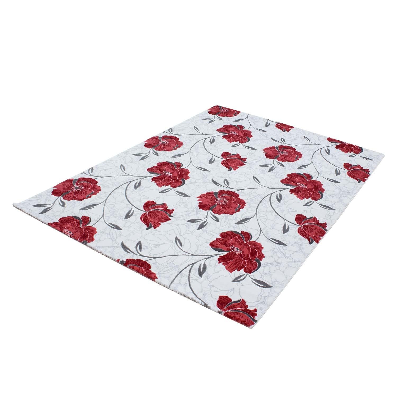 Tapis de salon floral rouge gris en 100 acrylique petals for Tapis pas cher pour salon