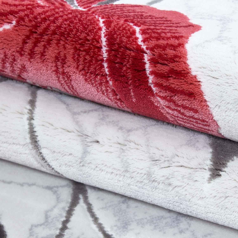 Tapis de salon floral rouge/gris en 100% acrylique petals 6 pas cher