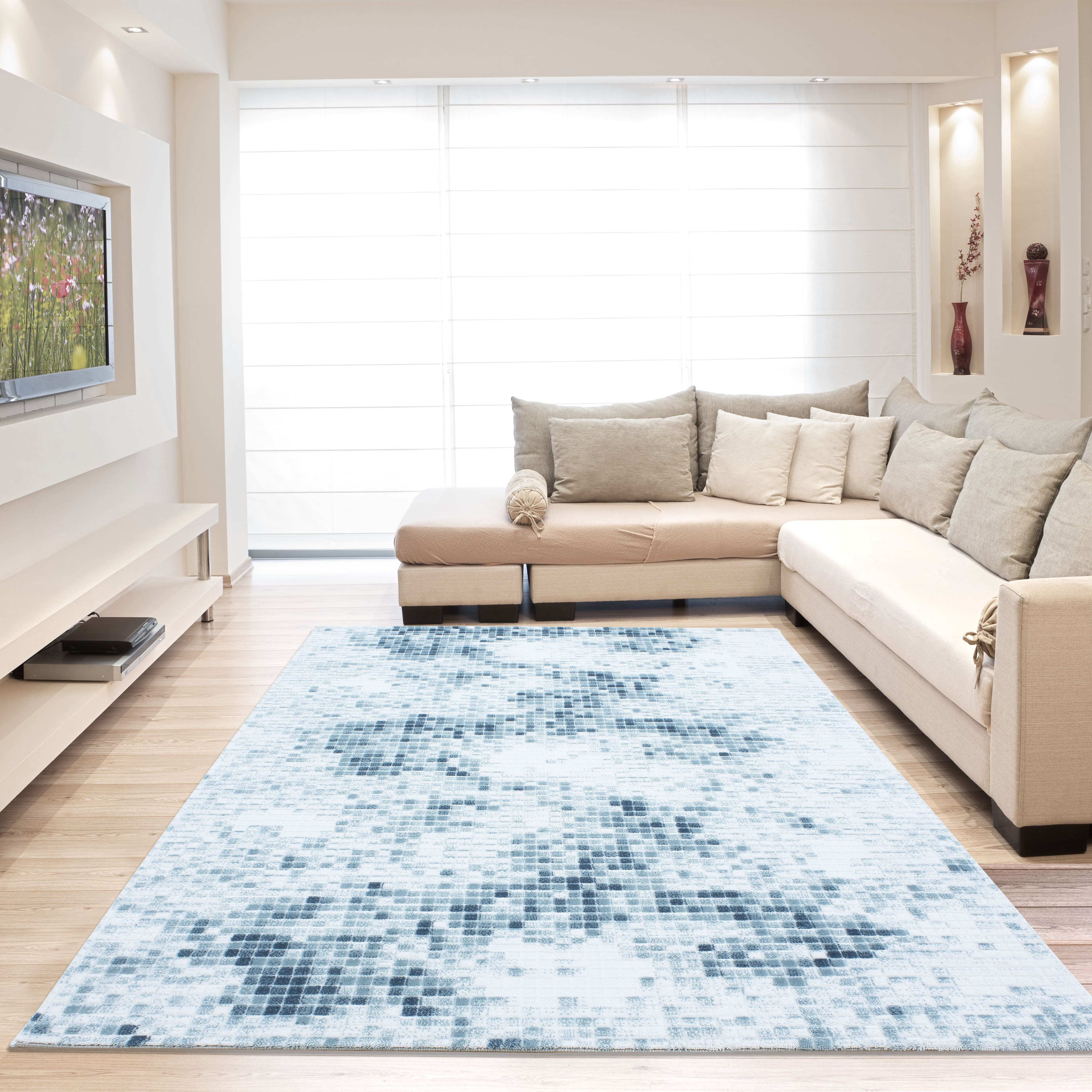 tapis vintage blue avec lurex et effet 3d lilo 2 pas cher. Black Bedroom Furniture Sets. Home Design Ideas