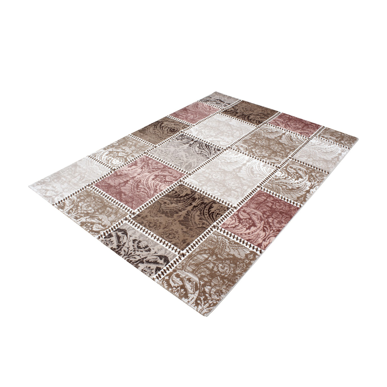 tapis vintage rose avec lurex et effet 3d lilo 3 pas cher