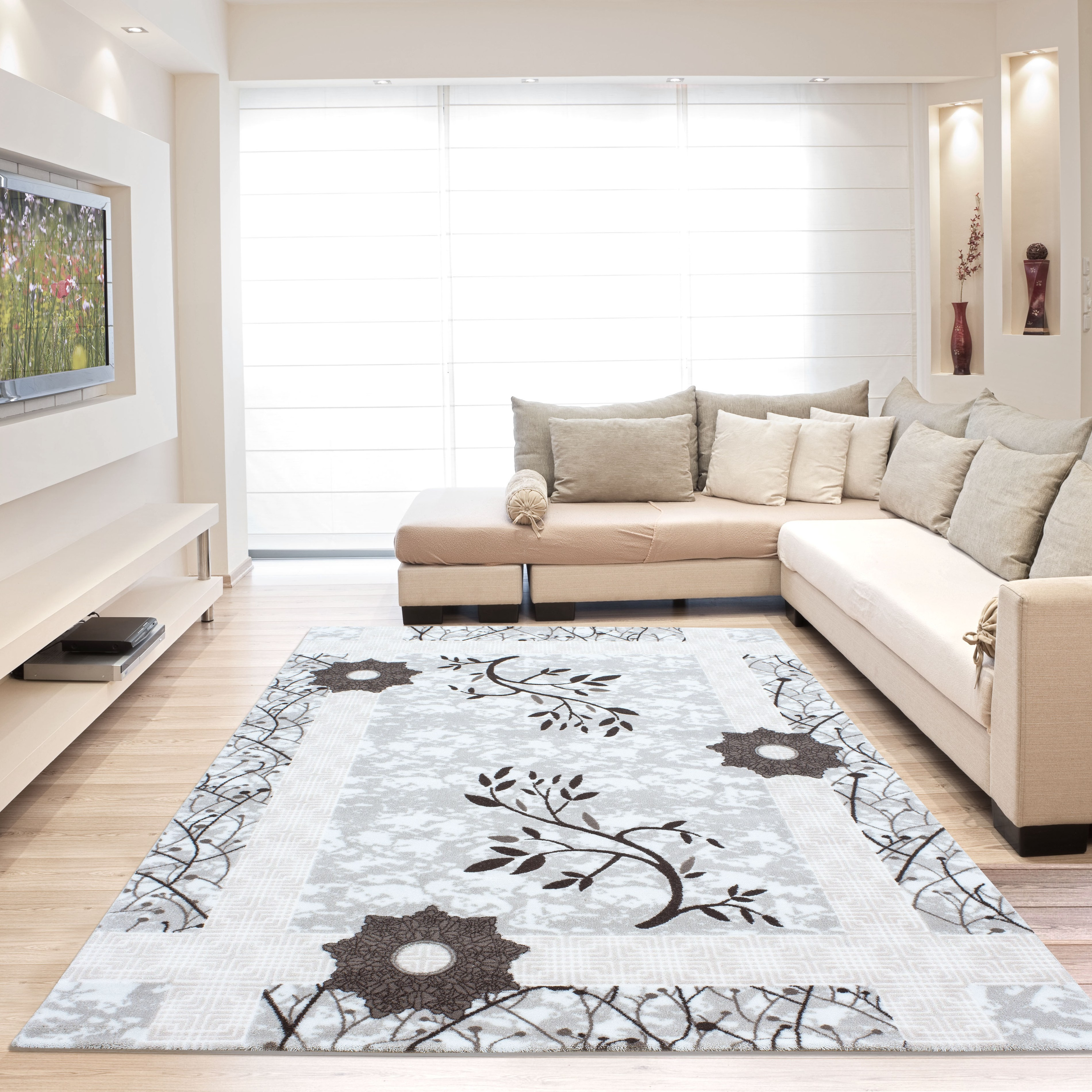 Tapis contemporain en acrylique marron home corsa 3 pas cher for Tapis salon contemporain