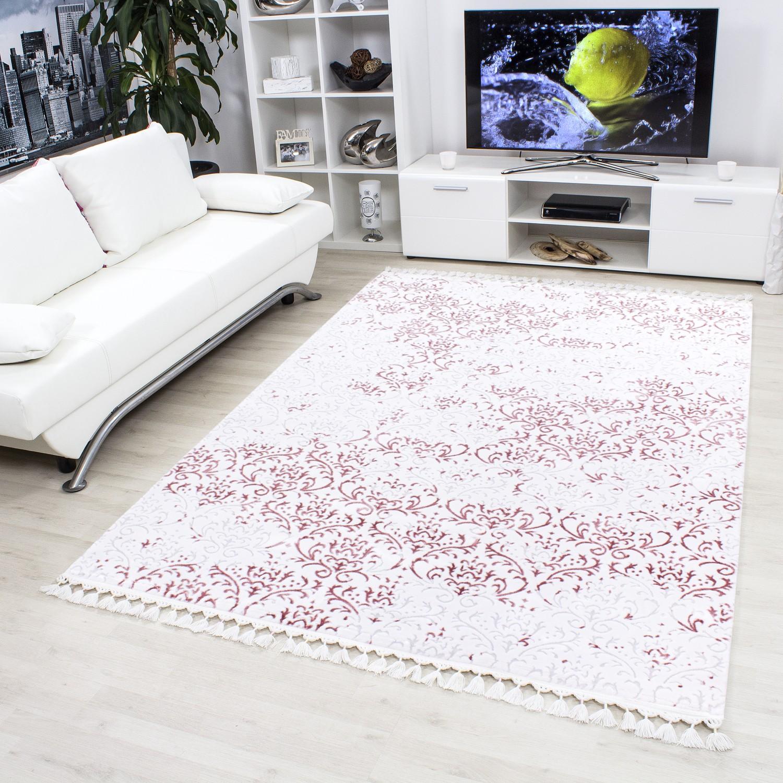 tapis de salon optic en acrylique cream et rose cosy. Black Bedroom Furniture Sets. Home Design Ideas
