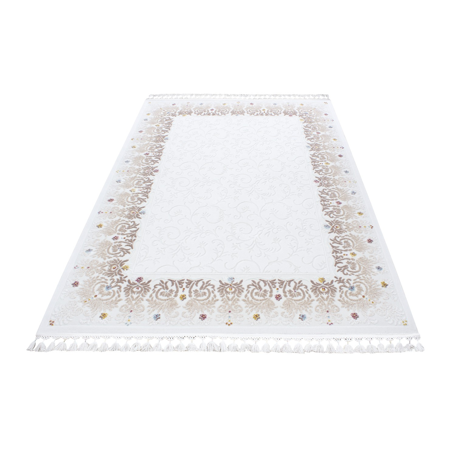 Tapis de salon optic en acrylique cream et rose cosy 2 pas for Tapis salon colore pas cher