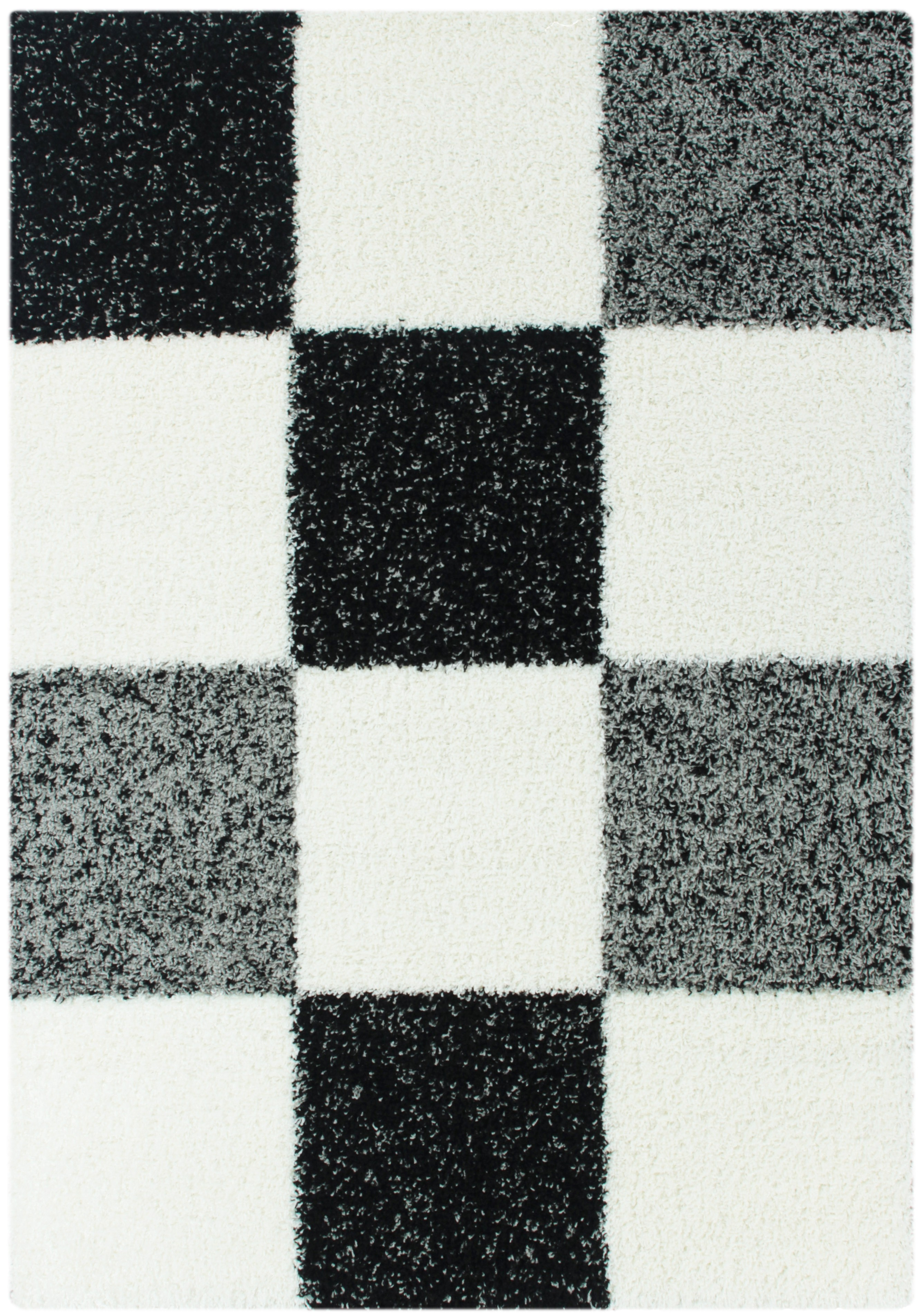 tapis shaggy longues m ches noir blanc gris hautes carreaux ps cher. Black Bedroom Furniture Sets. Home Design Ideas