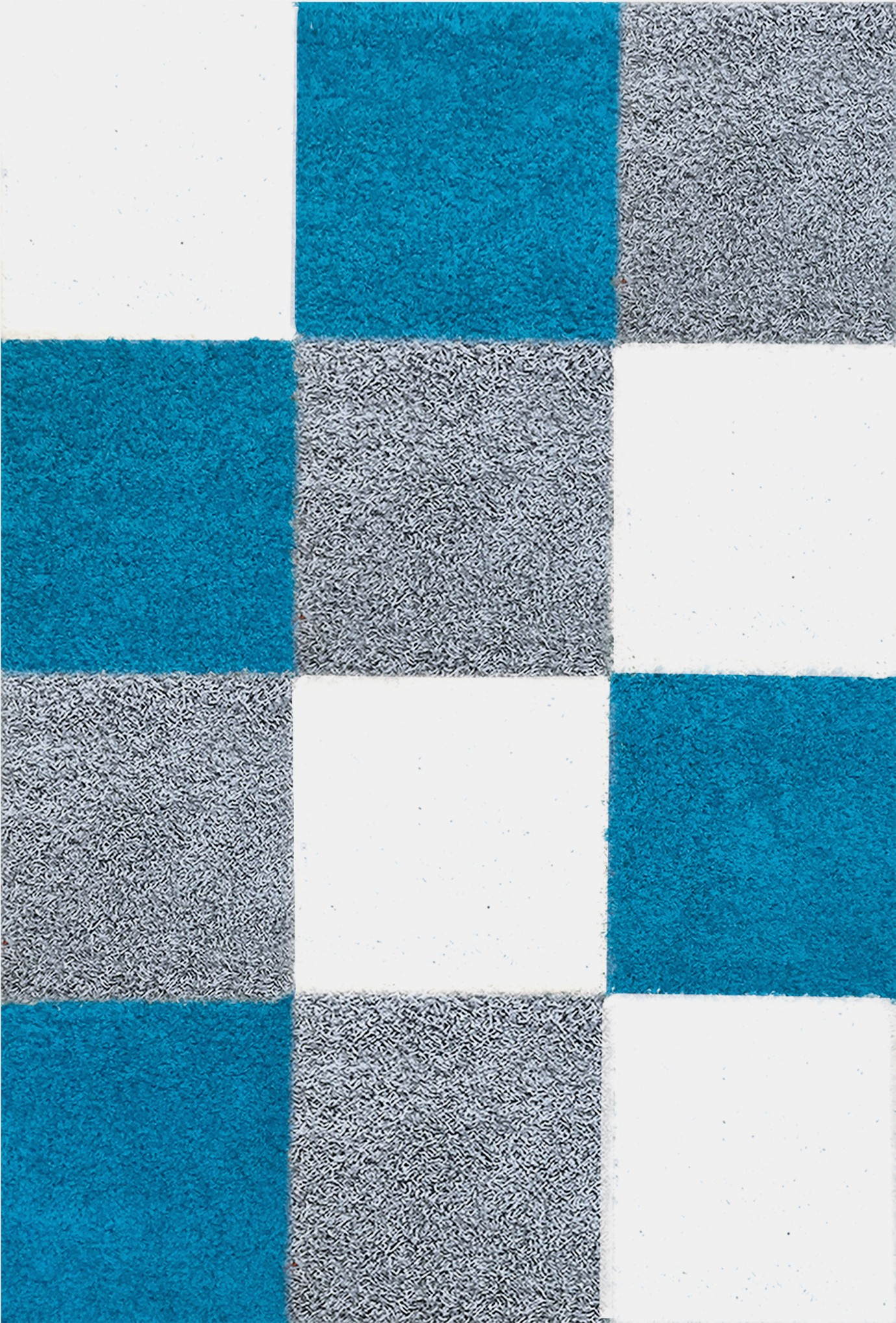 Tapis shaggy longues m ches turquoise gris cream hautes for Tapis turquoise et gris