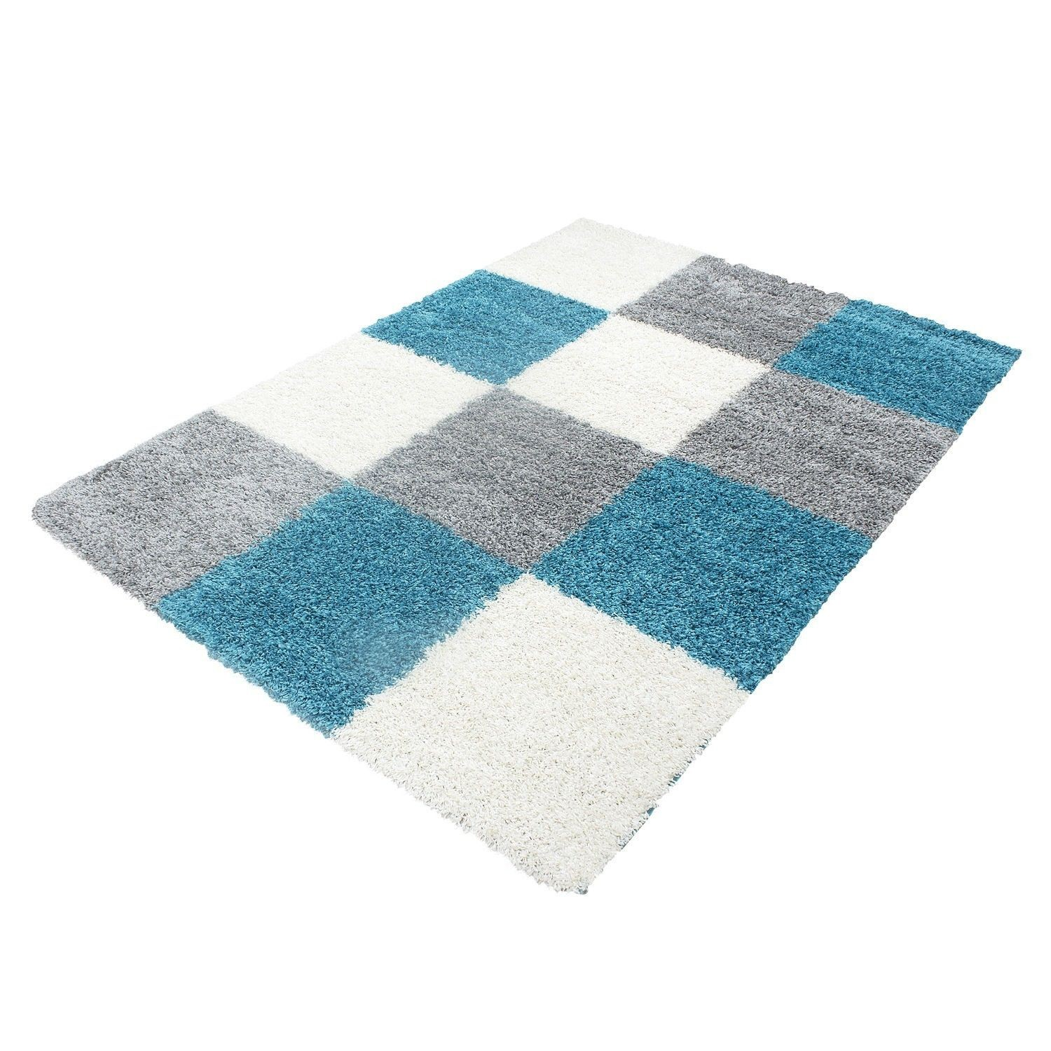 tapis shaggy longues m ches turquoise gris cream hautes. Black Bedroom Furniture Sets. Home Design Ideas