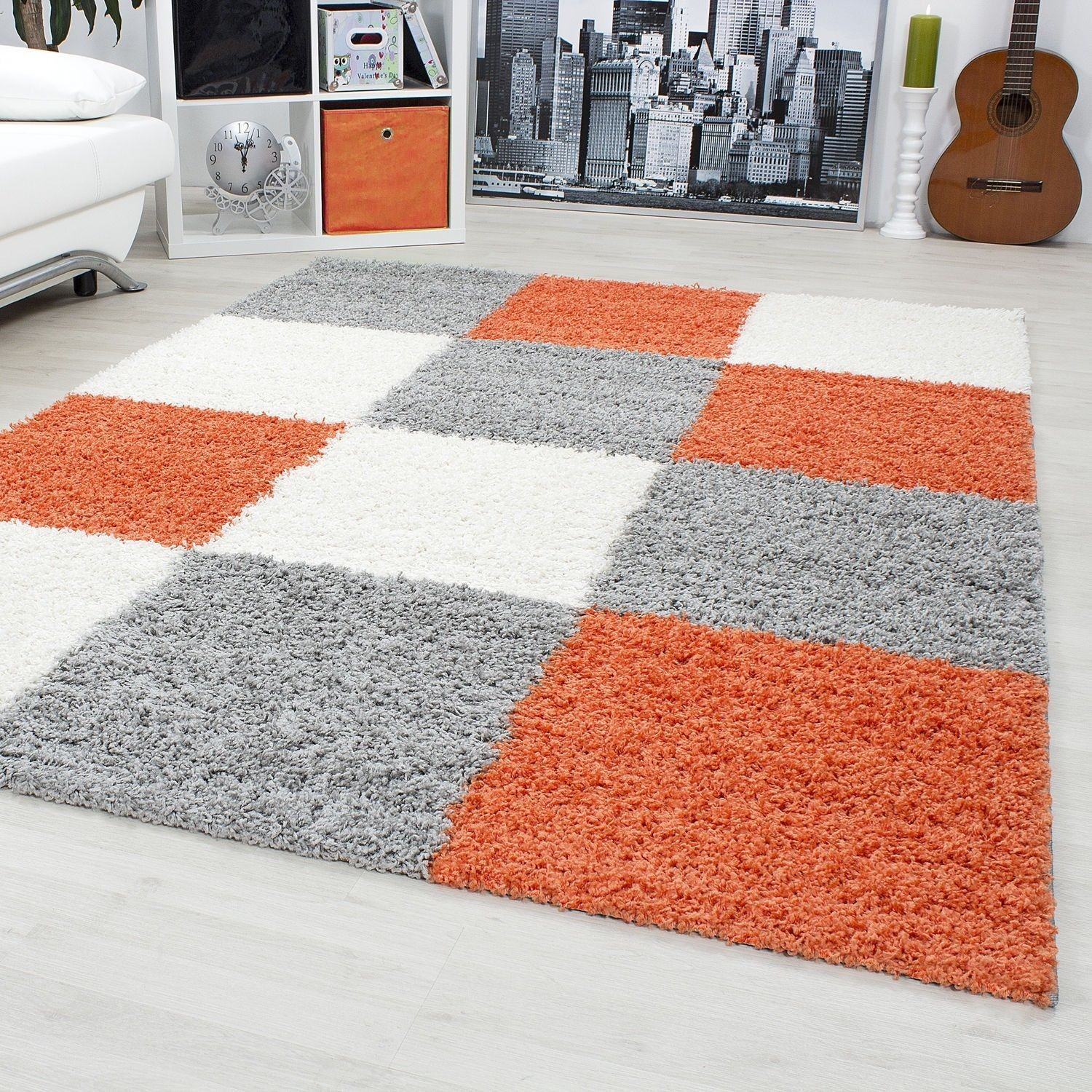 tapis shaggy longues m ches orange gris cream hautes carreaux pas cher. Black Bedroom Furniture Sets. Home Design Ideas