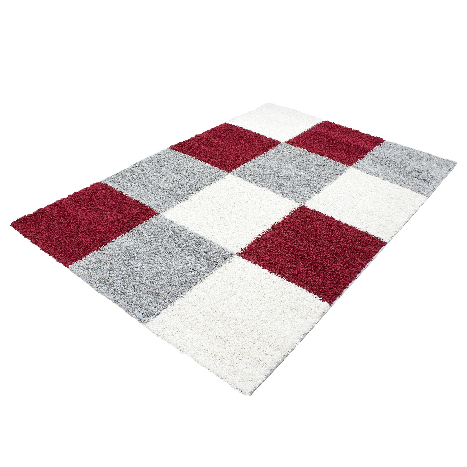 tapis shaggy longues m ches rouge gris cream hautes carreaux pas cher. Black Bedroom Furniture Sets. Home Design Ideas