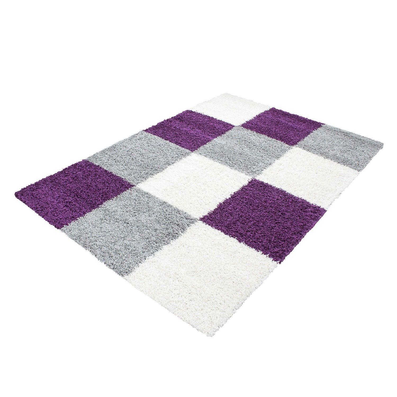 tapis shaggy longues m ches violette gris cream hautes. Black Bedroom Furniture Sets. Home Design Ideas