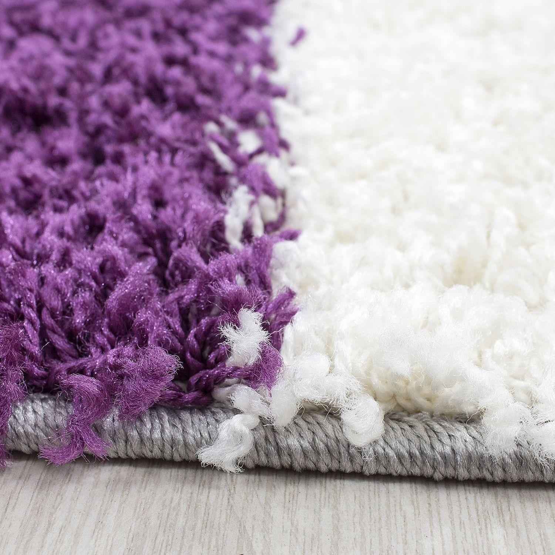 tapis shaggy longues m ches violette gris cream hautes carreaux pas cher. Black Bedroom Furniture Sets. Home Design Ideas