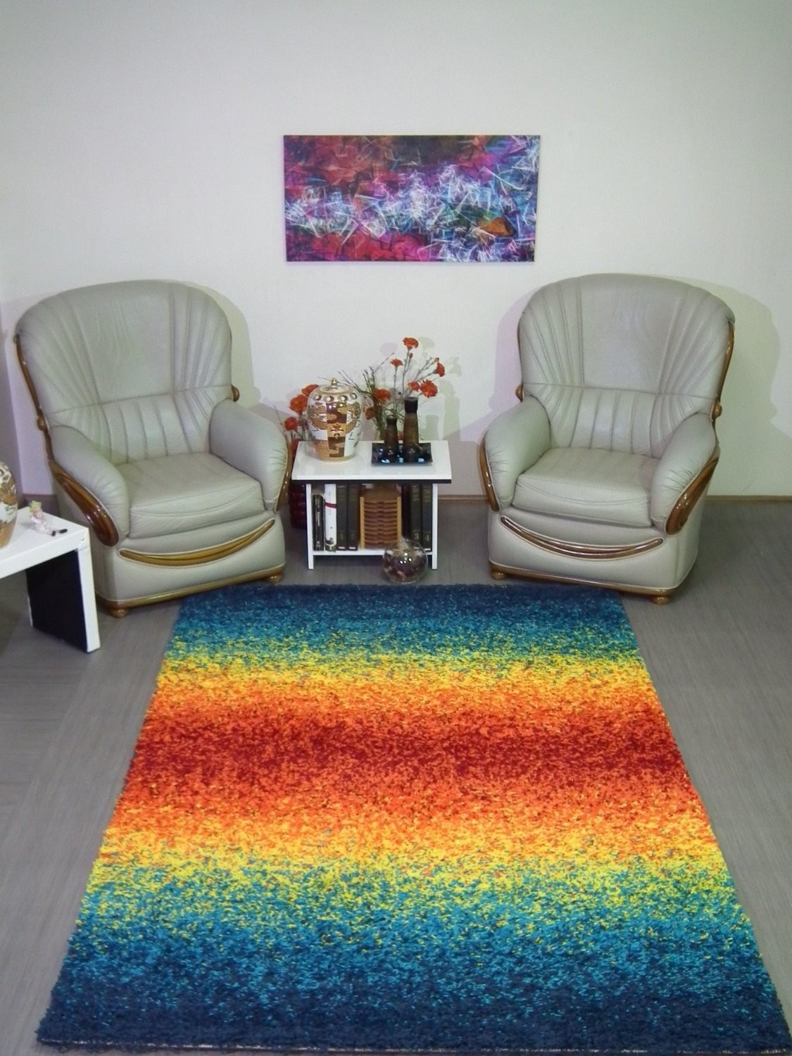 Tapis shaggy longues m ches design tapis multicolore moderne deco - Tapis shaggy multicolore ...