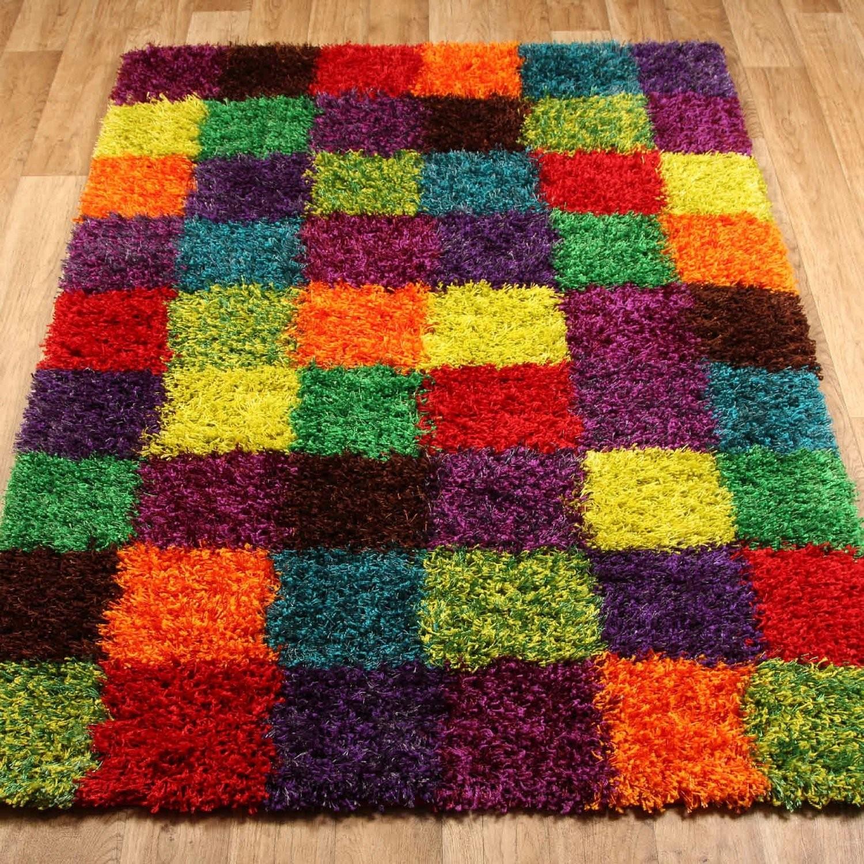 tapis shaggy longues m ches design multicolore moderne. Black Bedroom Furniture Sets. Home Design Ideas