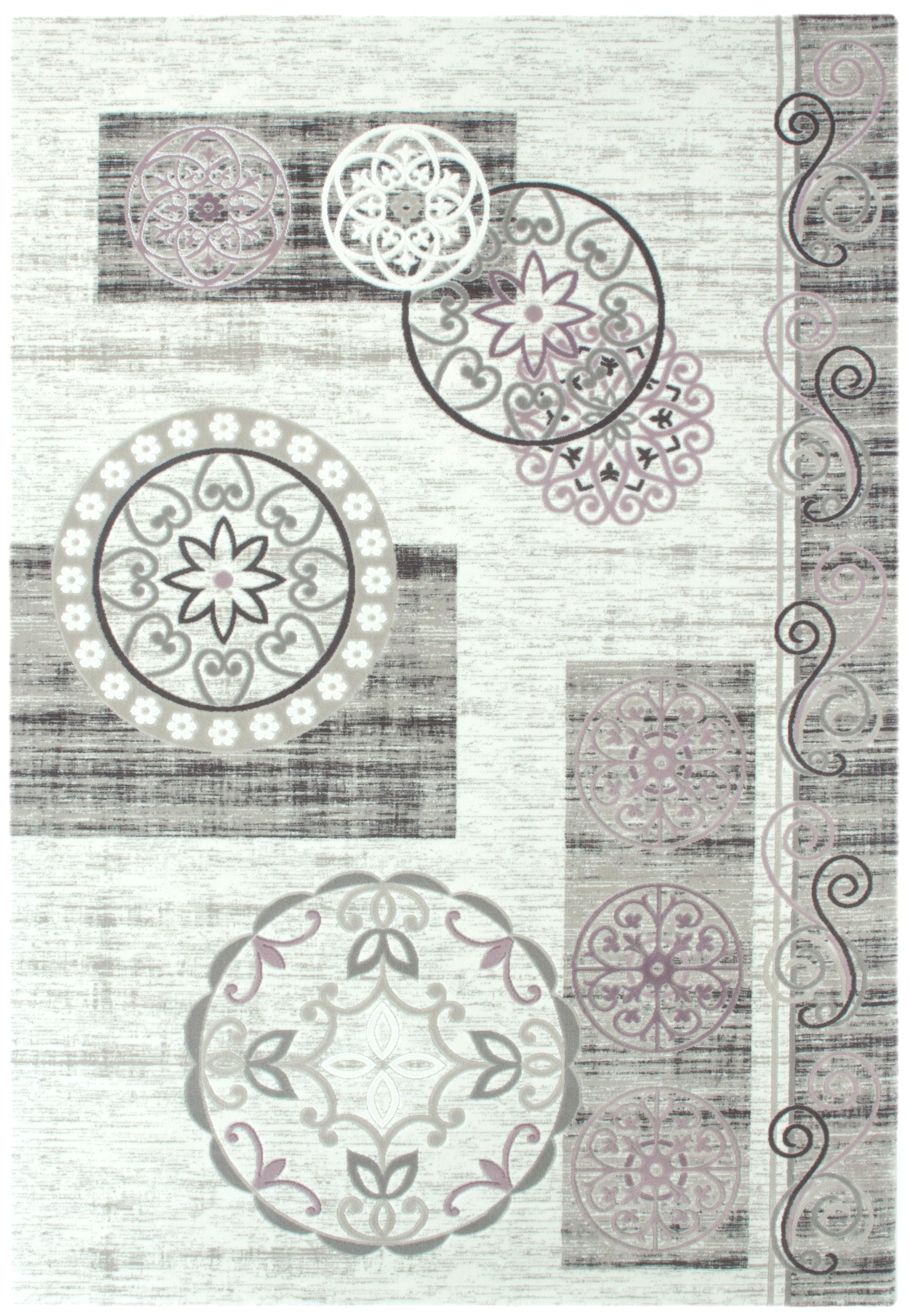 tapis en acrylique style baroque avec lurex cr me et gris dolce 2. Black Bedroom Furniture Sets. Home Design Ideas