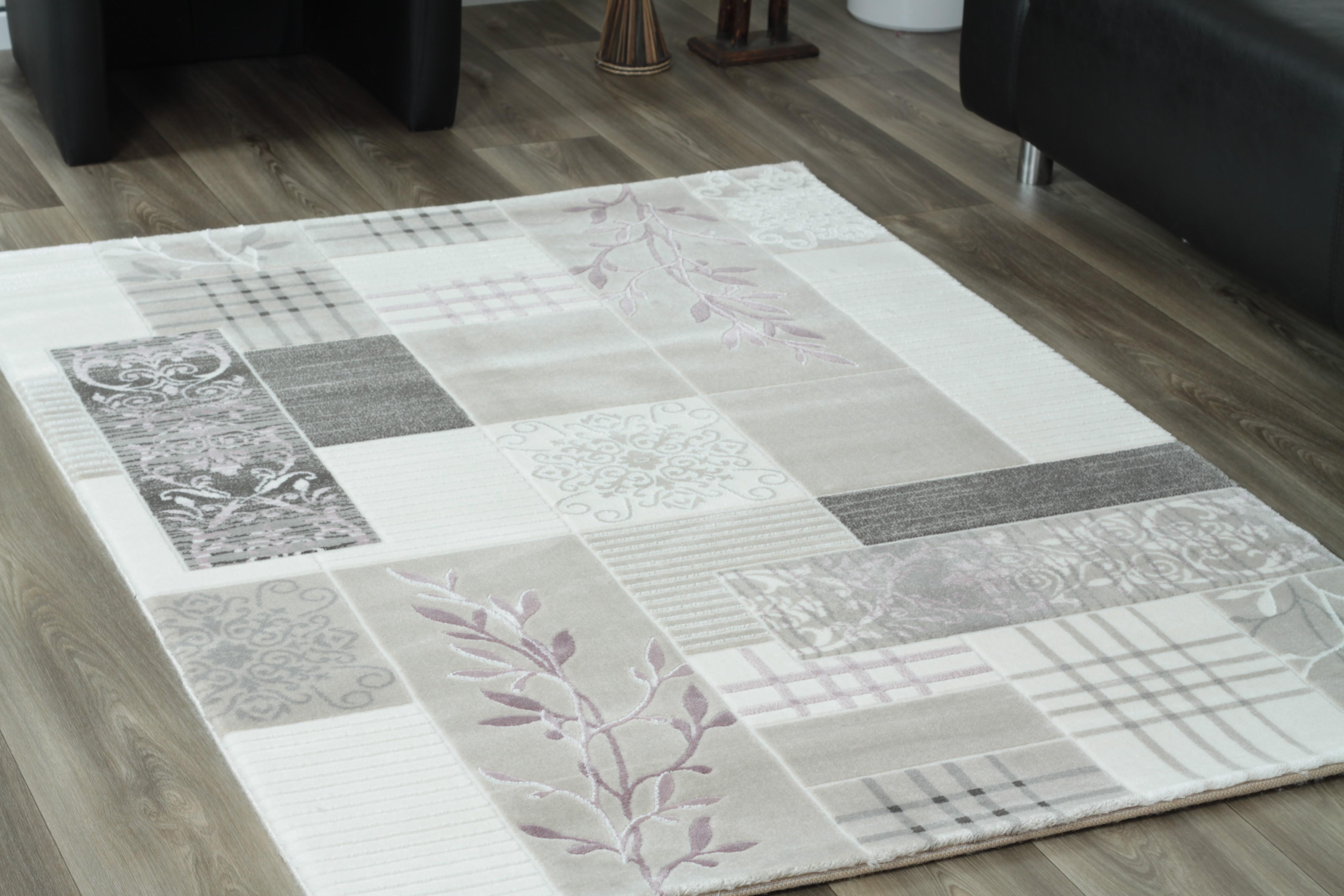 tapis en acrylique style baroque avec lurex cr me et gris dolce 3. Black Bedroom Furniture Sets. Home Design Ideas