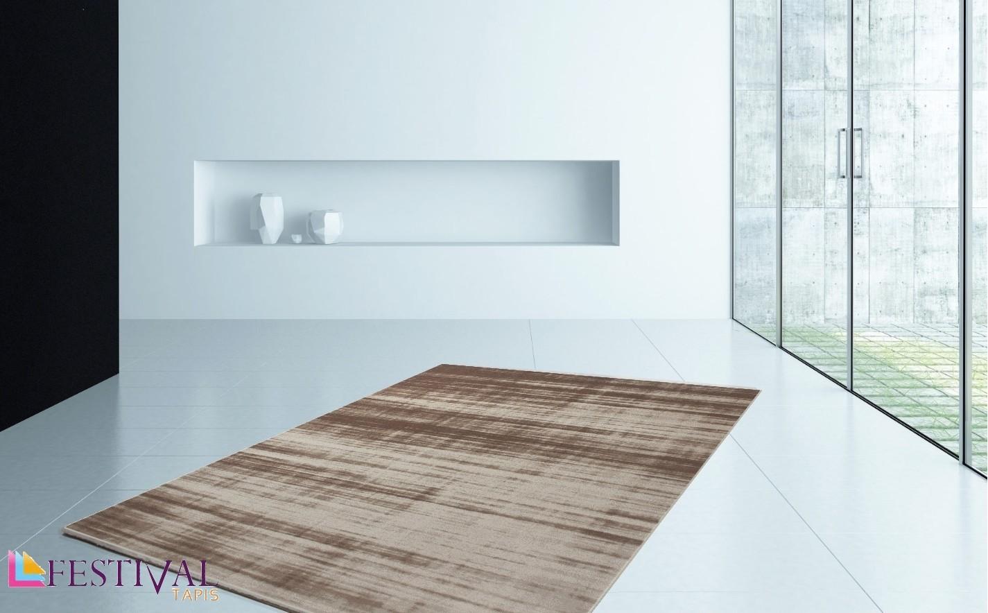 Tapis rayé en acrylique contemporain brun beige STRIPES-3