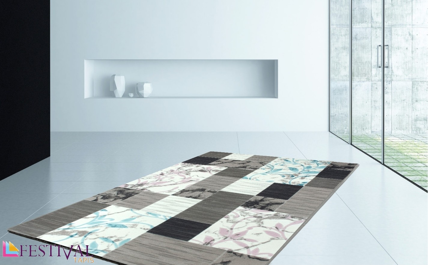 tapis de salon bicolore en acrylique par festival nevio. Black Bedroom Furniture Sets. Home Design Ideas