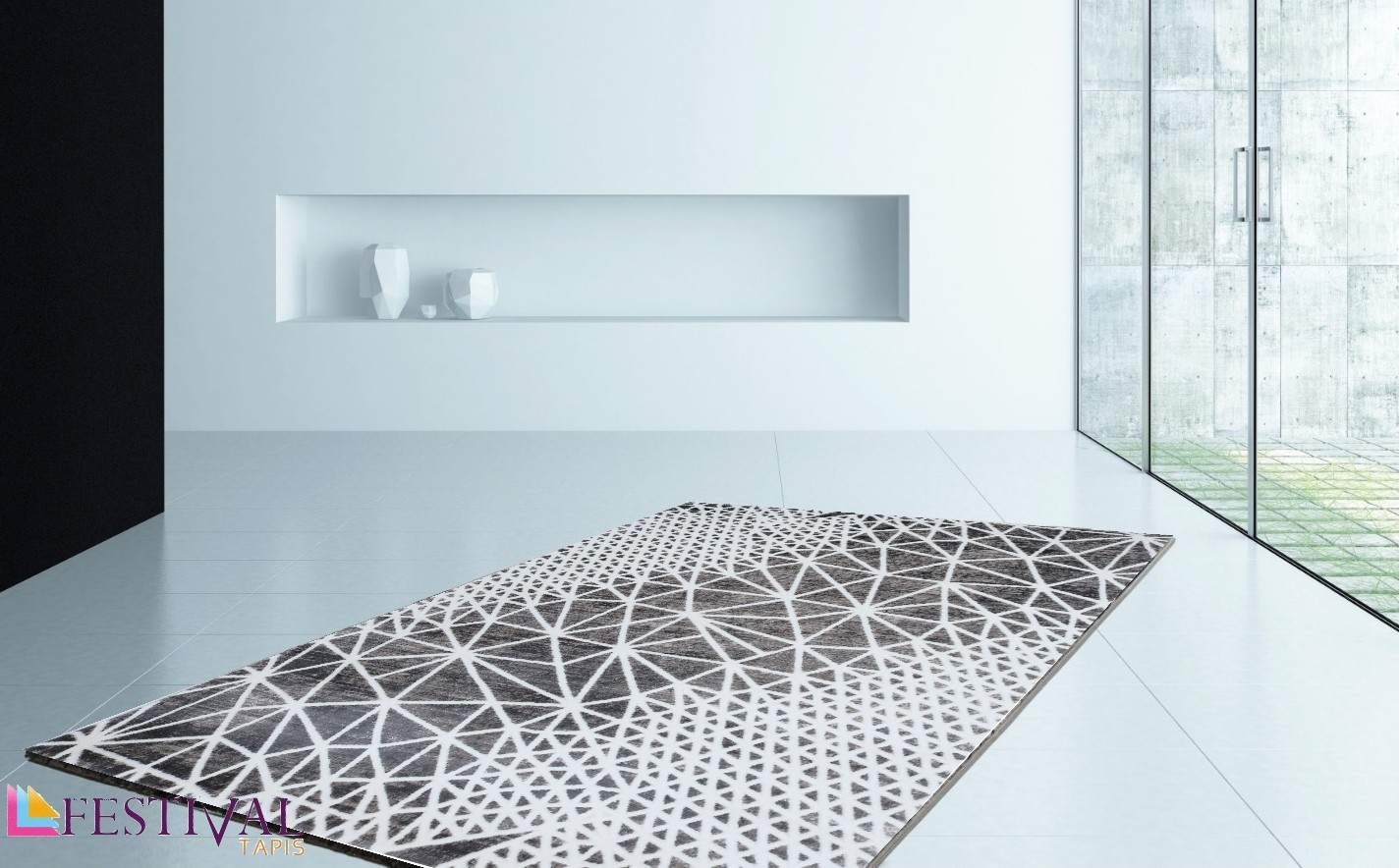 Tapis de salon design en acrylique moderne nevio 11 - Grand tapis de salon ...