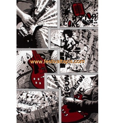 """Tapis heatset design """"Guitare"""" coloris gris tapis salon, tapis de salon, tapis salon pas cher, tapis de salon pas cher, tapis po"""
