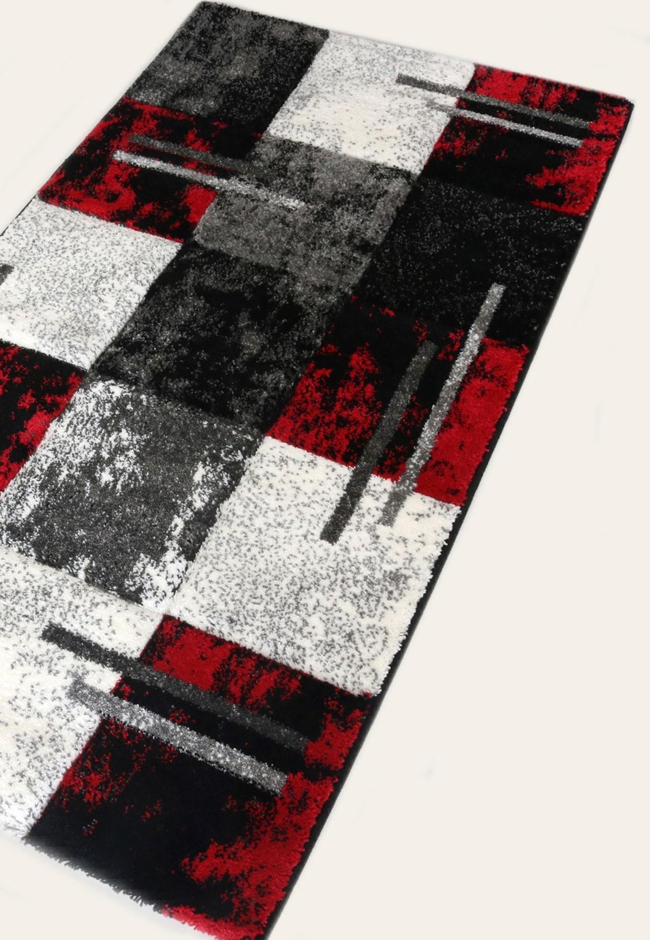 tapis rouge et gris moderne great tapis rouge noir tapis. Black Bedroom Furniture Sets. Home Design Ideas