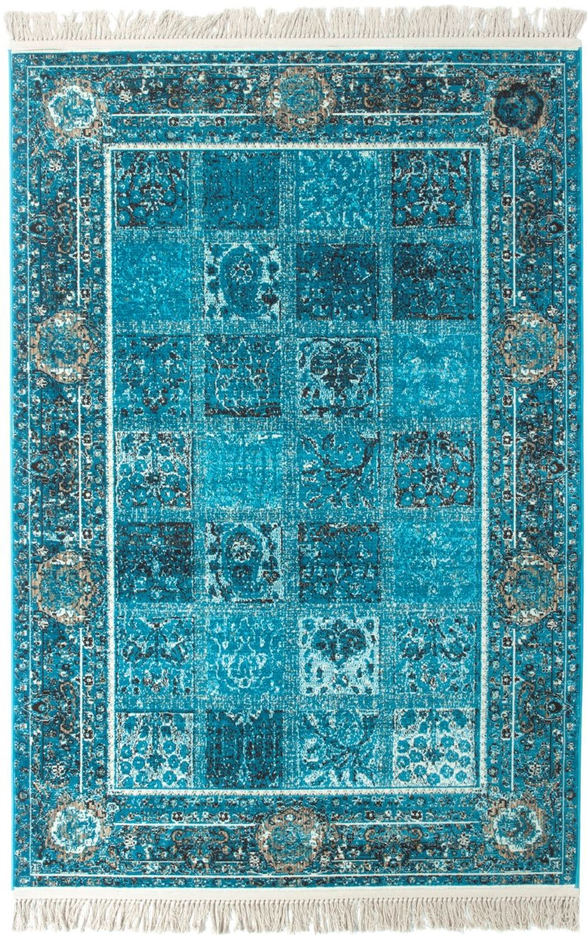 tapis turquoise rectangulaire style oriental antonia. Black Bedroom Furniture Sets. Home Design Ideas