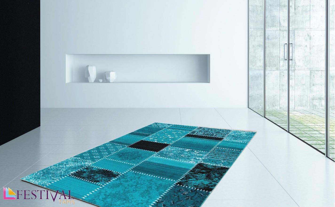 Tapis pour salon blue patchwork AQUA