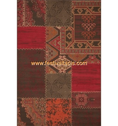 Tapis Patchwork de couleurs rouge vif et marro grand tapis pas cher, tapis grande taille pas cher, grand tapis gris pas cher, gr