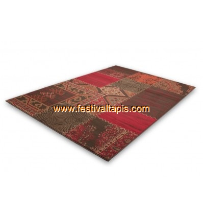 tapis patchwork de couleurs rouge vif et marro convers. Black Bedroom Furniture Sets. Home Design Ideas