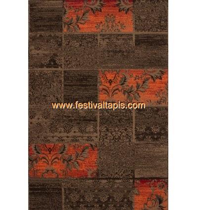Tapis Patchwork de couleurs marron et orange grand tapis pas cher, tapis grande taille pas cher, grand tapis gris pas cher, gran