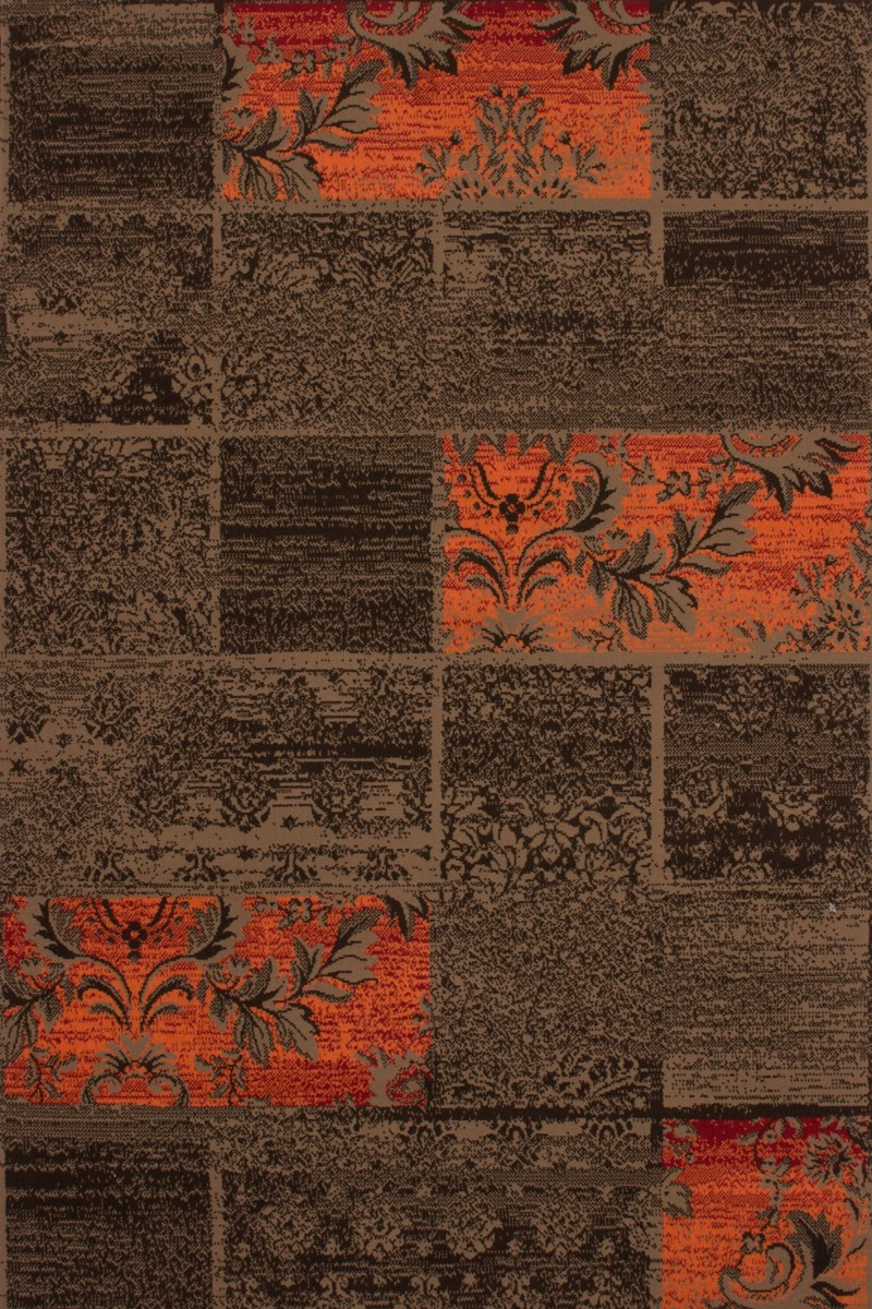 Tapis patchwork de couleurs marron et orange convers for Tapis turquoise et marron