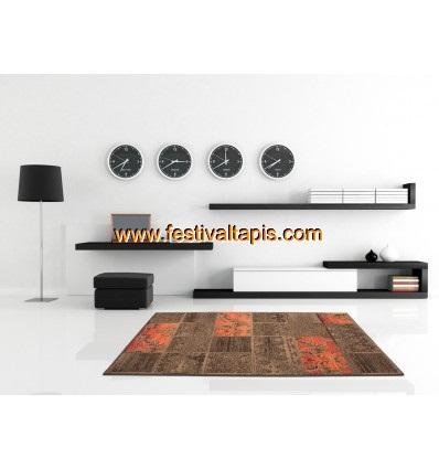 Tapis patchwork de couleurs marron et orange convers - Tapis grande taille pas cher ...