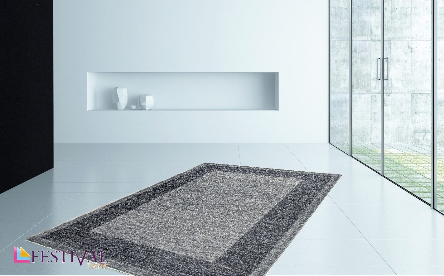 tapis en gris look contemporain grande salon d 39 entr e couloir loures. Black Bedroom Furniture Sets. Home Design Ideas