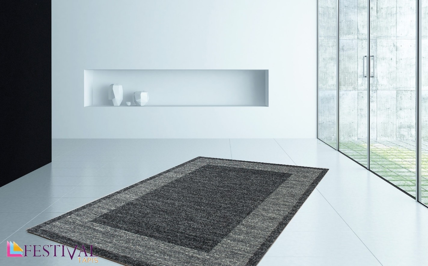 tapis en gris fonc look contemporain grande salon d 39 entr e couloir loures. Black Bedroom Furniture Sets. Home Design Ideas