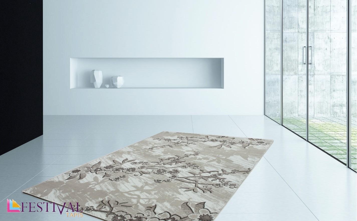 Tapis de salon design rectangulaire courtes m ches beige - Tapis de salon design ...